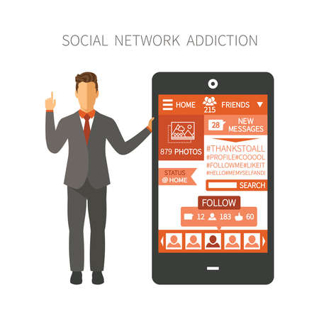 digital media: Man holding smartphone with social network app showing numbers of photos, friends, followers, messages, likes end etc. Illustration