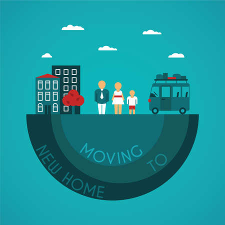 home moving: Moving to new home vector concept in flat style