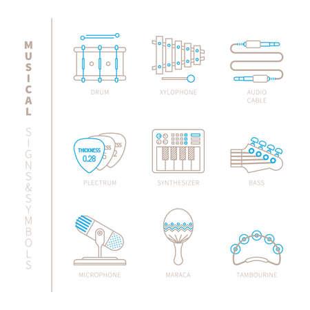 pandero: Conjunto de iconos de instrumentos musicales de vectores y conceptos en mono estilo de línea delgada