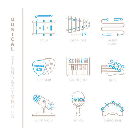 tambourine: Set of vector musical instrument icons and concepts in mono thin line style Illustration