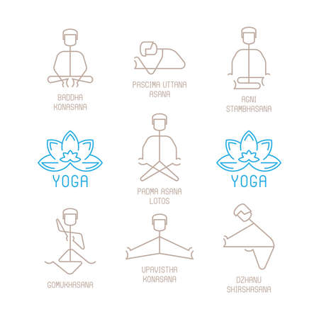 mono: Yoga poses vector illustration in mono line style