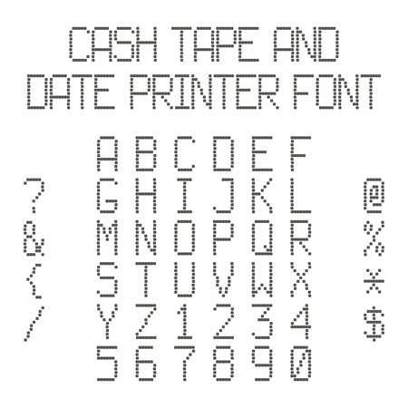 latin: Vector dotted alphabet imitating data printer or cash register