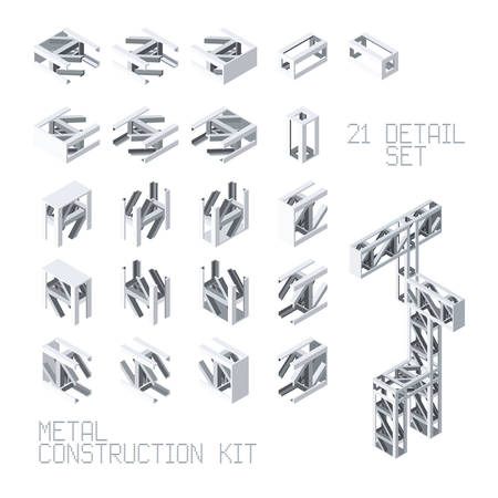fittings: Vector metal construction set in isometric style Illustration