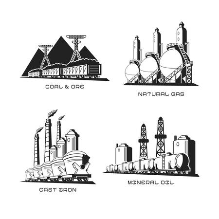 cast iron: Set of vector industrial symbolic illustrations in flat style Illustration