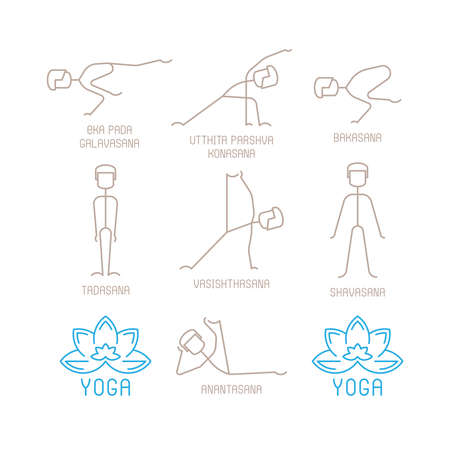 lotos: Yoga poses vector illustration in mono line style
