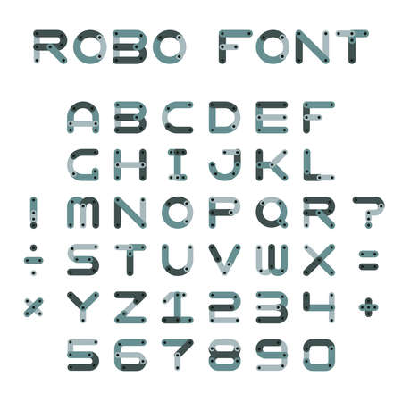 Vector robotic or mechanic font in flat style