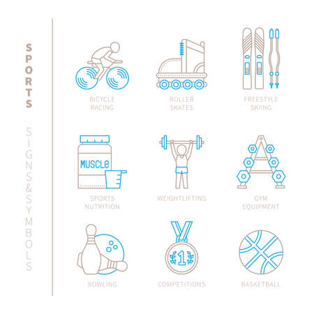 rollerblades: Set of vector sport icons and concepts in mono thin line style Illustration