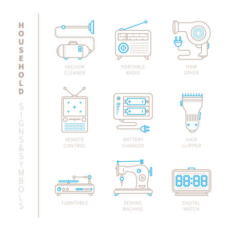 mono: Set of vector household icons and concepts in mono thin line style