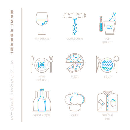 main course: Set of vector restaurant icons and concepts in mono thin line style Illustration