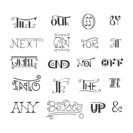 catchword: Set of vector hand written catchwords pretexts and ampersands in doodle style. Sketched calligraphic design elements.