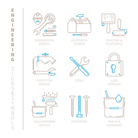 Set of engineering icons and concepts in mono thin line style Illustration