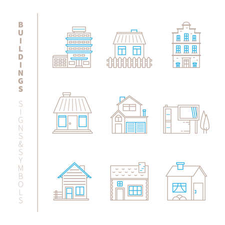Set von Gebäuden Icons und Konzepte in mono dünne Linie Stil Standard-Bild - 53858256