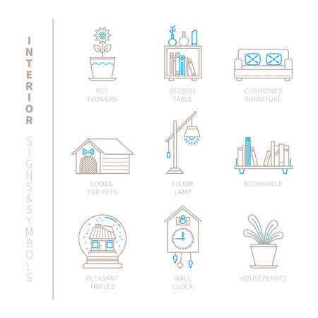 household goods: Set of interior icons and concepts in mono thin line style Illustration