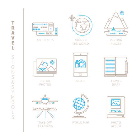 aircraft take off: Set of travel icons and concepts in mono thin line style Illustration