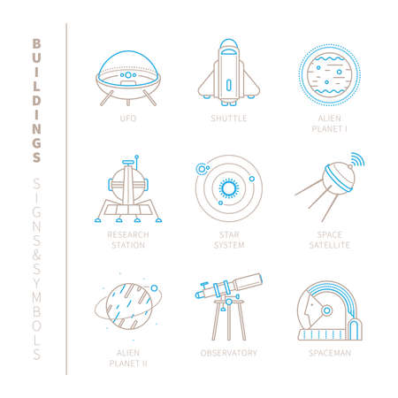 cosmos: Set of space icons and concepts in mono thin line style