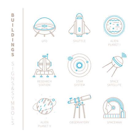 kosmos: Set von Raum-Symbole und Konzepte in mono dünne Linie Stil Illustration