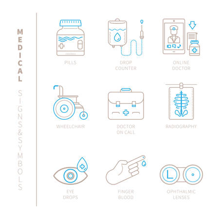 radiography: Set of medical icons and concepts in mono thin line style