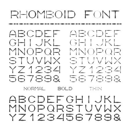 rhombic: rhombic alphabet with capital letters in flat style