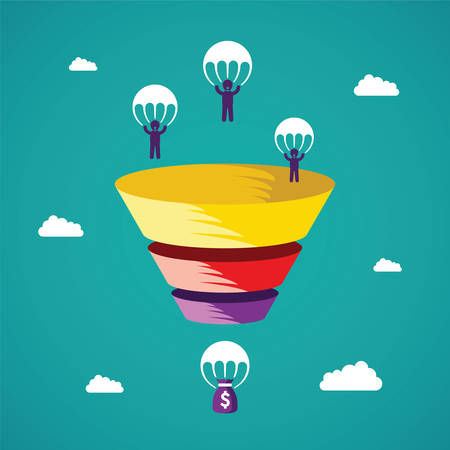 Sales funnel concept in de vlakke stijl Stock Illustratie