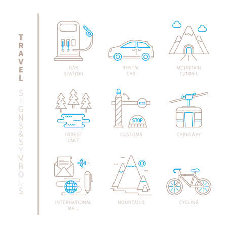 mountain pass: Set of travel icons and concepts in mono thin line style Illustration