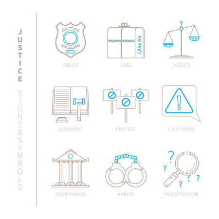 manacles: Set of justice icons and concepts in mono thin line style
