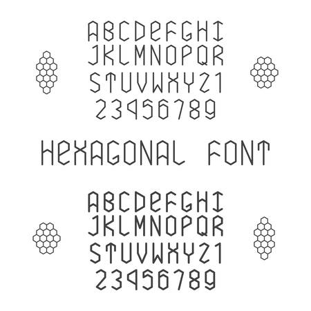 harrow: Hexagonal font with numerals in normal and bold style Illustration