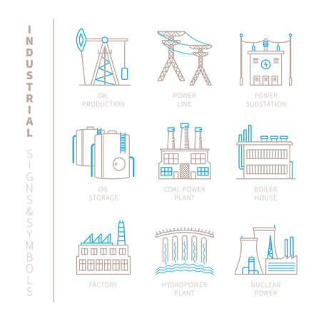 power icon: Set of industrial icons and concepts in mono thin line style Illustration