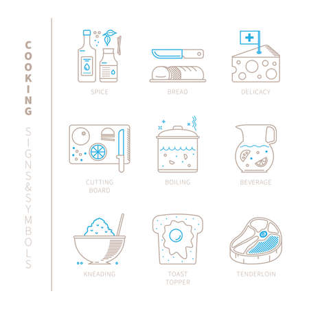 kneading: Set of cooking icons and concepts in mono thin line style