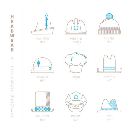 headwear: Set of headwear icons and concepts in mono thin line style Illustration