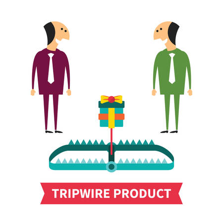 mantrap: Tripwire product vector concept in flat style