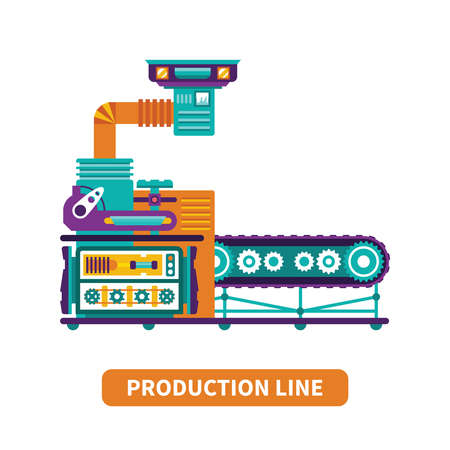 line vector: Production line vector concept in flat style Illustration