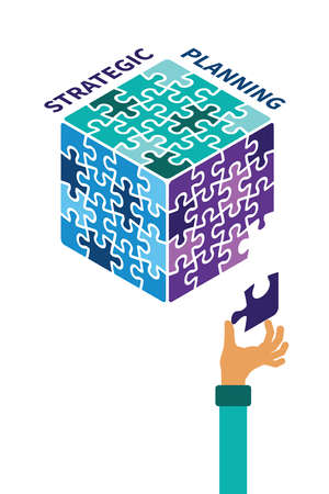 strategic planning: Strategic planning cube vector concept in flat style