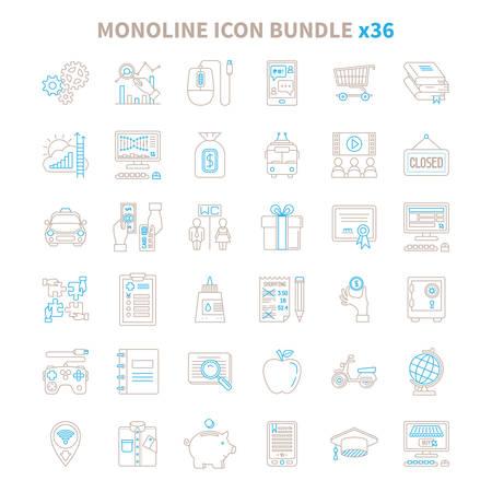 Mono line vector icon bundle 36 items