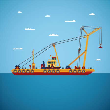 floating: Vector floating marine crane in flat style Illustration
