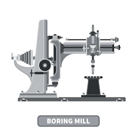 boring: Vector industrial boring mill in flat style Illustration