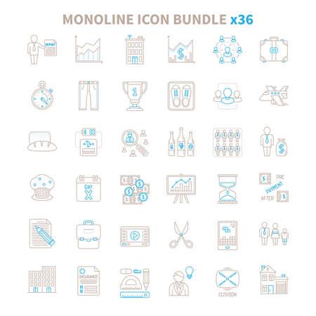 mono: Mono line vector icon bundle 36 items