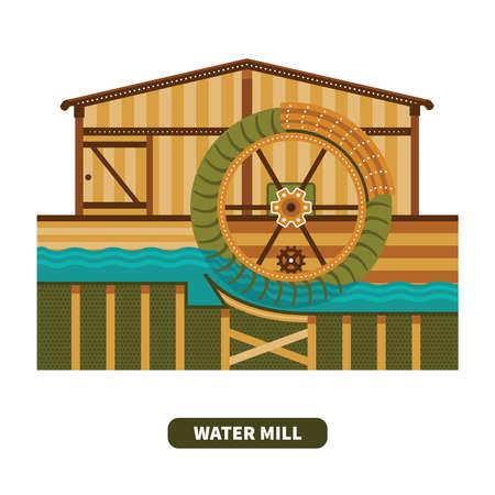 molino de agua: molino de agua del vector en estilo plano
