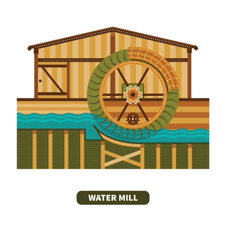 watermill: Vector water mill in flat style Illustration