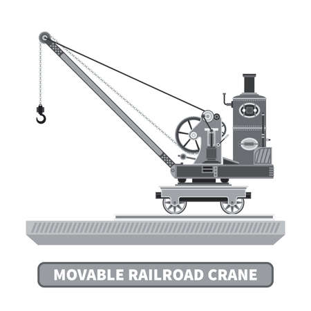 movable: Vector movable crane in flat style Illustration