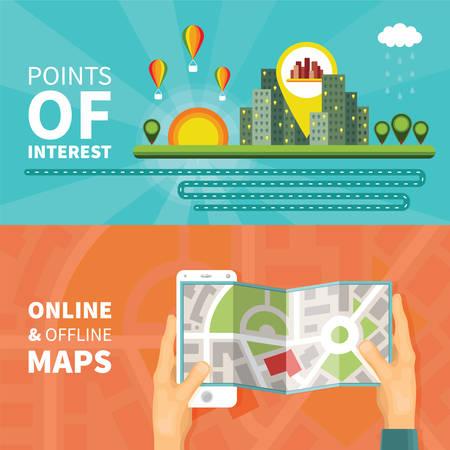 poi: Gps maps and navigation vector concepts set