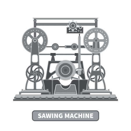 oldstyle: Oldstyle vector mechanical sawing machine in flat style