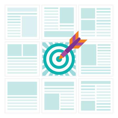 Relevante contexto anuncio concepto en estilo plano