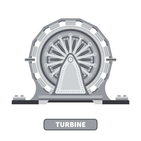 turbine: Vector industrial turbine in flat style