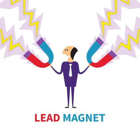 Lead-Magnet Vektor-Konzept in flachen Stil