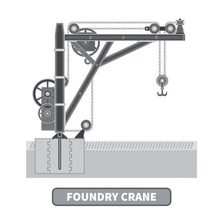foundry: Vector foundry crane in flat style