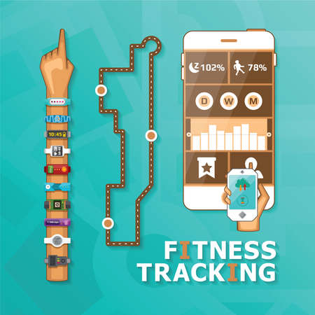 tracking: Fitness tracking bracelet and app vector concept in flat style Illustration