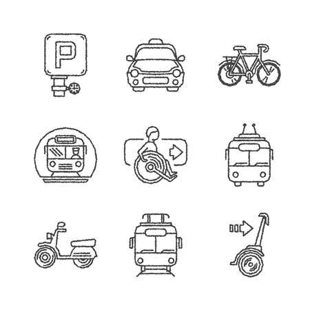 public transport: Set of vector public transport icons in ketch style