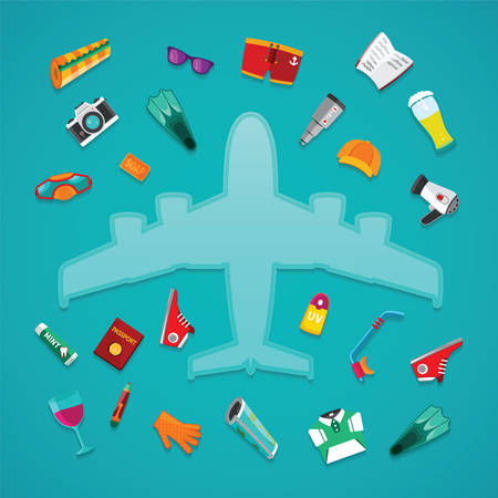 airplane travel: Airplane travel & tourism vector concept in flat style