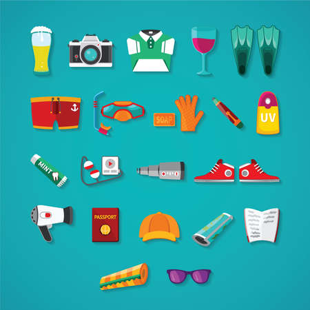 travel icon: Travel & tourism vector icon objects set in flat style Illustration