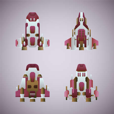 modification: Vector fantastic space ships set in flat style